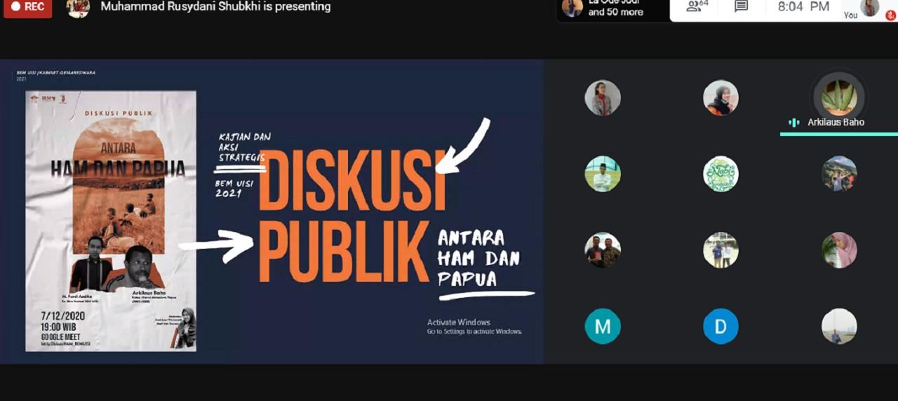 Suasana Diskusi Publik Antara HAM dan Papua (Foto: Tangkapan Layar)