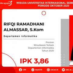Rifqi Ramadhani Almassar Wisudawan terbaik Departemen Informatika UISI