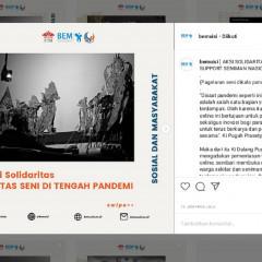 Poster dukungan BEM UISI pada pagelaran seni di tengah pandemi (Foto: Instagram)
