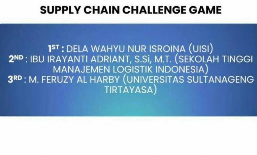Pengumuman pemenang Supply Chain Challenge Game