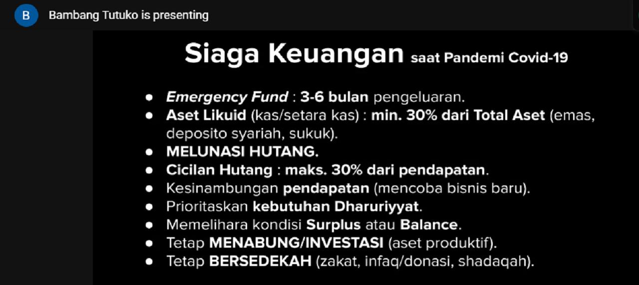 Tips Siaga Keuangan saat Pandemi Covid-19 oleh Dr. Bambang Tutuko, S.E.,M.M.,CFP.,AWP